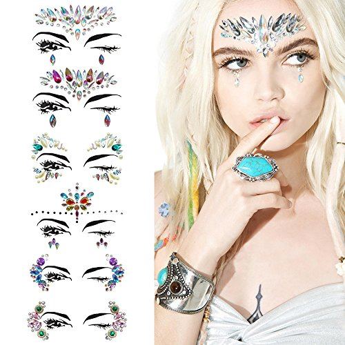 (6 Sets Face Jewels Stickers Tattoo Bady Eyes Decoration Mermaid Individuality Make-up Rhinestone Sticker for Halloween Party,Music Festival,Shows (Face Jewels)