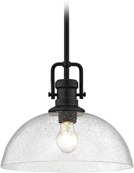 Industrial Seeded Glass Pendant Light Bronze 14-Inch Wide