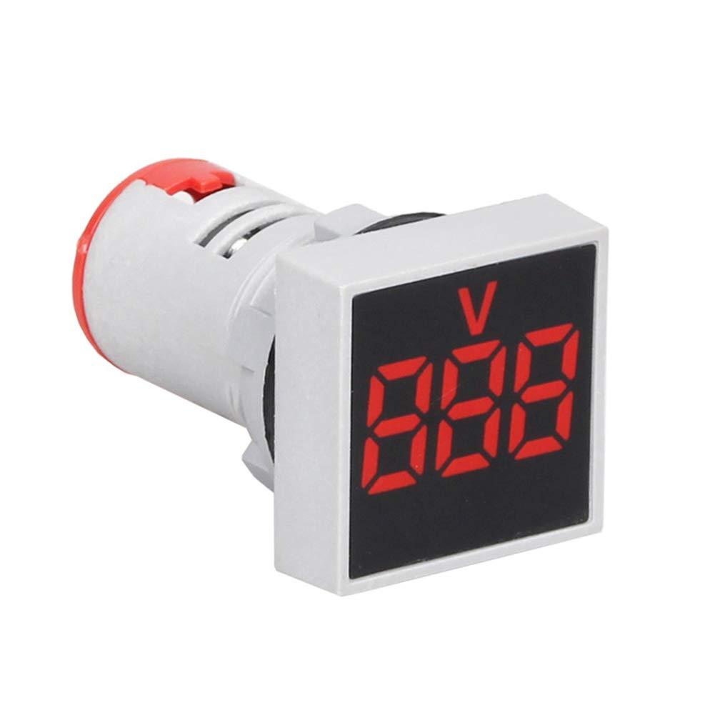 CactusAngui 22mm Indicator Light AC 12-500V Voltmeter Square Panel LED Digital Voltage Meter White