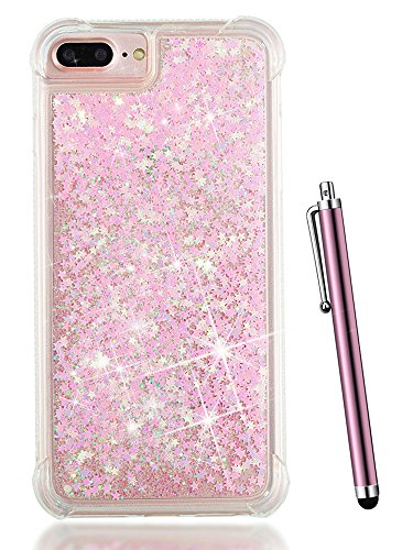 Clear Baby Pink Zebra - Glitter iPhone 7 Plus Case, iPhone 8 Plus Case for Women,iPhone 6S Plus Case for Girls,iPhone 6 Plus Case for Kids,CAIYUNL Liquid Sparkly Bling Clear Bling Luxury Silicone Protective&Stylus- Baby Pink