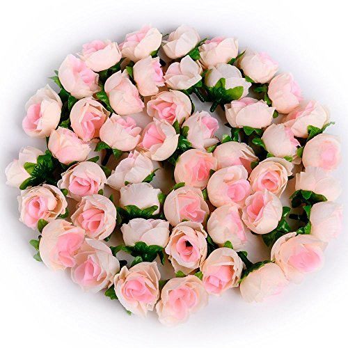 Supla 50pcs Artificial Silk Rose Buds Mini Flower Heads for DIY Wreath Gift Box Scrapbooking Craft (pink and Champagne)