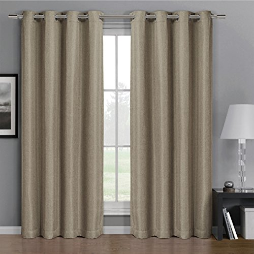 Pair Of Two Top Grommet Gulfport Faux Linen Blackout Weave Thermal Insulated Curtain Panels  Triple Pass Yarn Back Layer  Elegant And Contemporary Gulfport Blackout Panels  Set Of Two Beige 52  By 108  Panels  104  By 108  Pair