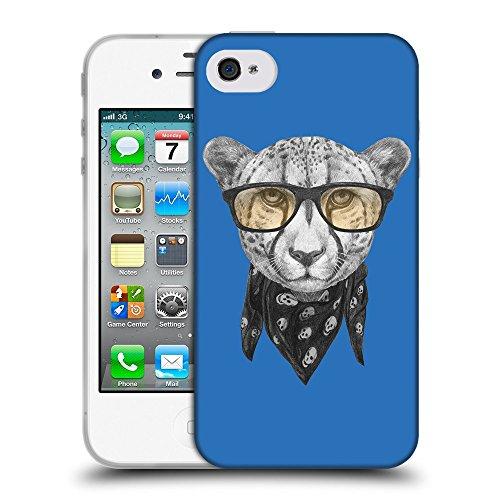 GoGoMobile Coque de Protection TPU Silicone Case pour // Q05030608 Foulard cheetah Azur // Apple iPhone 4 4S 4G