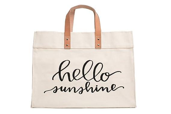 543ee477b Canvas Beach & Pool Tote - Resort Style Bag (Natural- Hello Sunshine)
