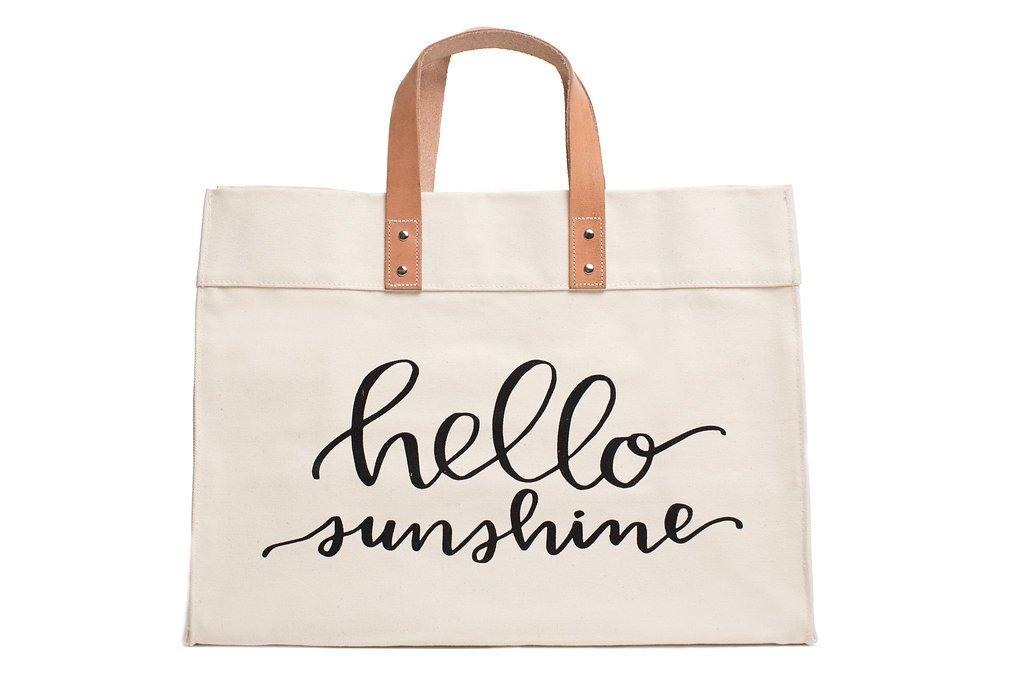 Canvas Beach & Pool Tote - Resort Style Bag (Natural- Hello Sunshine)
