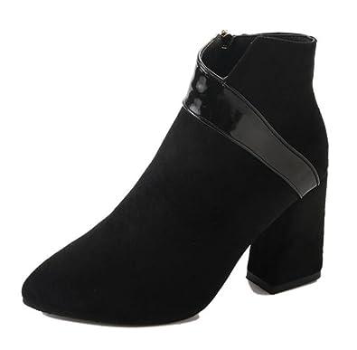 Easemax Damen Elegant Schleife Quadratisch Zehe Kurzschaft Stiefel Mit Absatz Schwarz 43 EU OxQRZFLHv