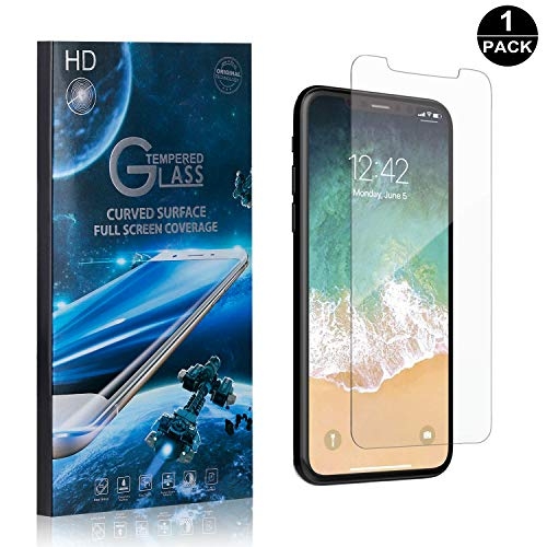 iPhone X/iPhone Xs Tempered Glass Screen Protector, UNEXTATI Premium HD [Easy Install] [Anti-Fingerprint] Screen Protector Film for iPhone X/iPhone Xs (1 Pack) ()