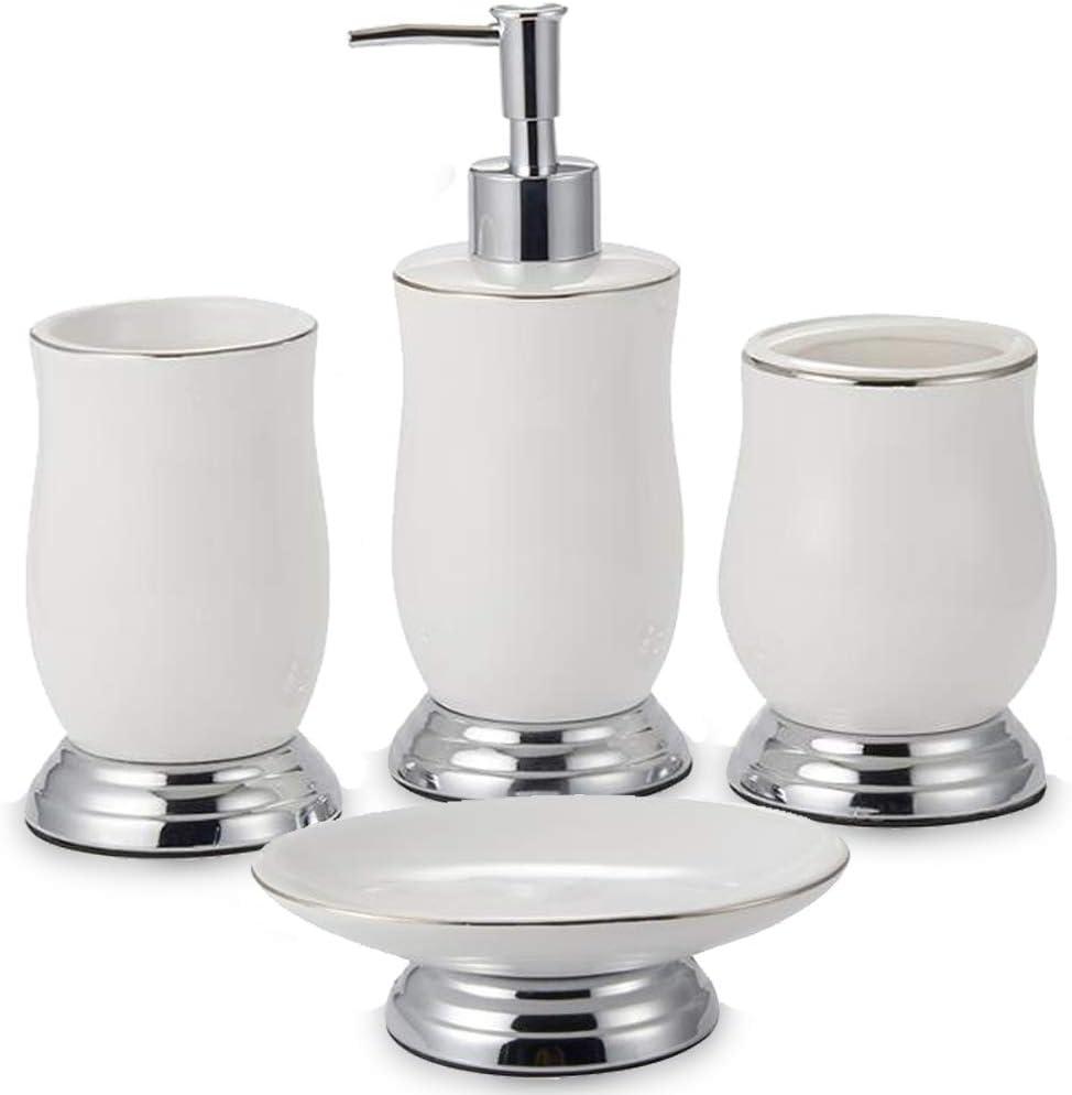CAA'S Bathroom Accessories Set Ceramic 4 Pieces Bath Ensemble Set Include Lotion Dispenser Toothbrush Holder Soap Dish Soap Dispenser Set