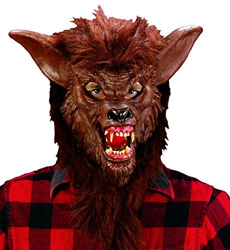 (Brown Werewolf Latex Mask Evil Fangs Halloween Costume Accessory Wolf Man)