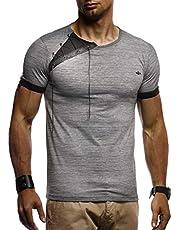 LEIF NELSON Herren Sommer T-Shirt Rundhals-Ausschnitt Slim Fit Baumwolle-Anteil   Moderner Männer T-Shirt Crew Neck Hoodie-Sweatshirt Kurzarm lang   LN1245