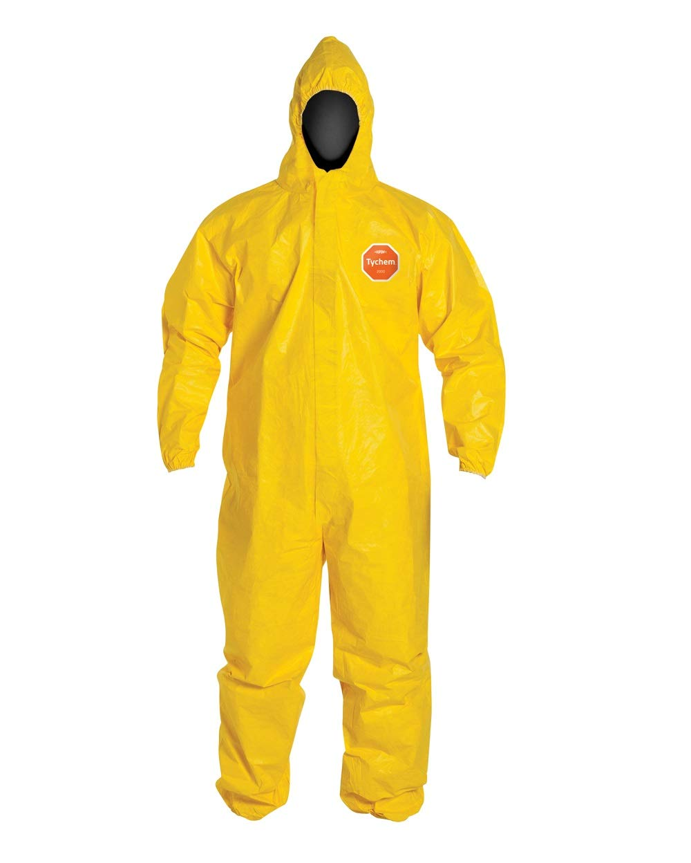 DuPont Tychem 2000 Standard Fit Hood Stormflap Elastic Wrists and Ankles Serged Seam, Yellow, 3XL, Pack of 1