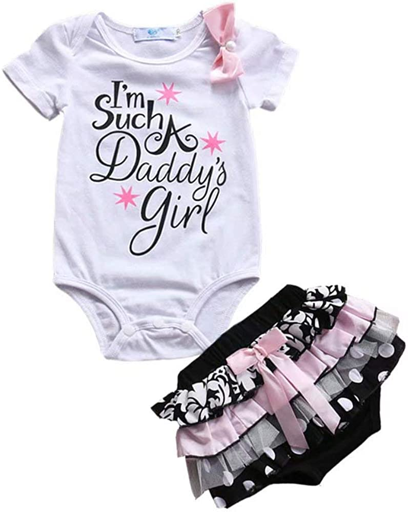 Geagodelia Kids Infant Baby Girls Summer Father/'s Day 2Pcs Outfit Letter Printed Short Sleeve Romper Shorts Clothes Set