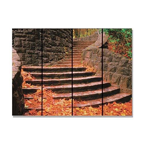Gizaun Art Fall Steps 22-1/2-Inch by 16-Inch Inside/Outside Wall Art, Full Color on Cedar