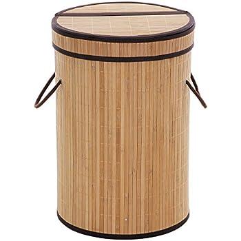 Amazon Com Songmics Bamboo Laundry Hamper Basket With