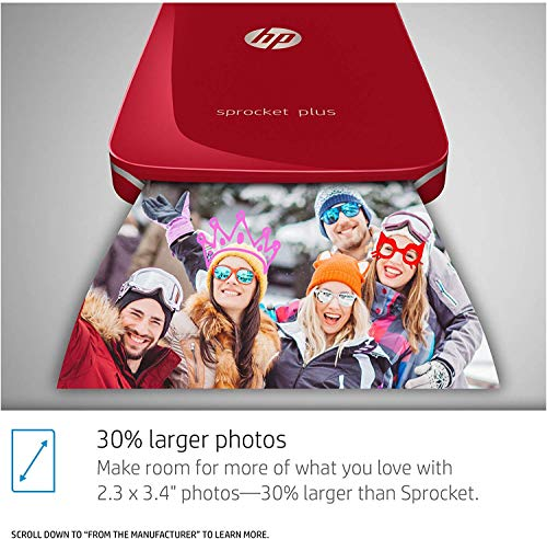 HP Sprocket Plus Instant Photo Printer, Print 30% Larger Photos on 2.3×3.4 Sticky-Backed Paper – Red (2FR87A), Small