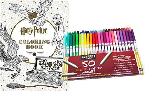 Harry Potter Coloring Book & 50 Sargent Fine Tip Marker Pens Kit, Gift Set – Color Your Favorite Magical Hogwarts Scenes & Creatures - For Adults & (Halloween 4 Final Scene)