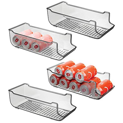 mDesign Large Plastic Pop/Soda Can Dispenser Storage Organizer Bin for Kitchen Pantry, Countertops, Cabinets, Refrigerator - Holds 9 Cans - BPA Free, Food Safe, 4 Pack - Smoke Gray