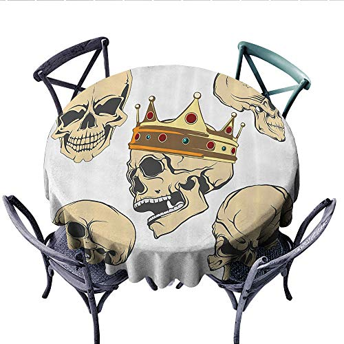 Skull Decor Circle Tablecloth Skulls Different Expressions Evil Face Crowned Death Monster Halloween Flannel Tablecloth (Round, 70 Inch, Sand Brown Yellow) -