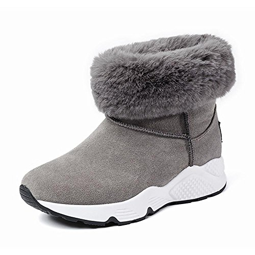 SHANGXIAN Chica invierno piel forrada nieve Lluvia acogedor Casual botas calientes gray