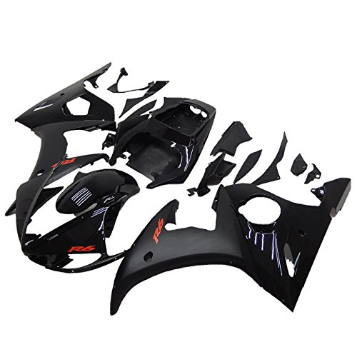 (NT FAIRING Red Decals Black Injection Mold Fairing Fit for Yamaha YZF 2003-2005 R6 & 2006-2009 R6S New Painted Kit ABS Plastic Motorcycle Bodywork Aftermarket)