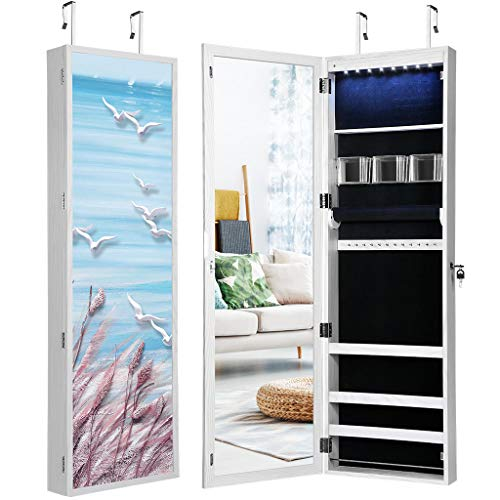 LANGRIA 8 LEDs Mirror Jewelry Cabinet Lockable Wall/Door Mounted Armoire with 3D Magnetic Sea Picture