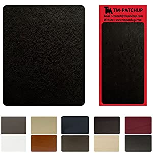 Black Leather and Vinyl Repair Patch by TMgroup, Genuine Faux Leather Repair Patch, Peel and Stick for Couch, Sofas, car Seats, Hand Bags,Furniture, Jackets, Large Size 3'' x 6'' (1)