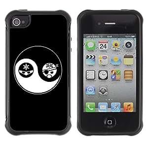 Hybrid Anti-Shock Defend Case for Apple iPhone 4 4S / Yin & Yang WANGJING JINDA