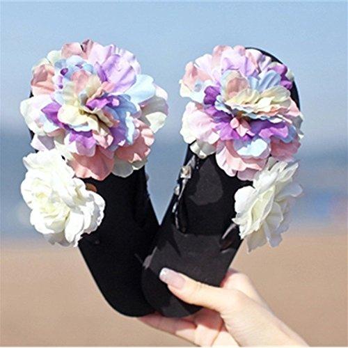 KAKA(TM Women's Fashion Rhinestone Glitter Studded Crystal Flower Thong Sandals Flip Flops Sandals£¨Black£-£¨9-10£ (Lg G3 Violet)