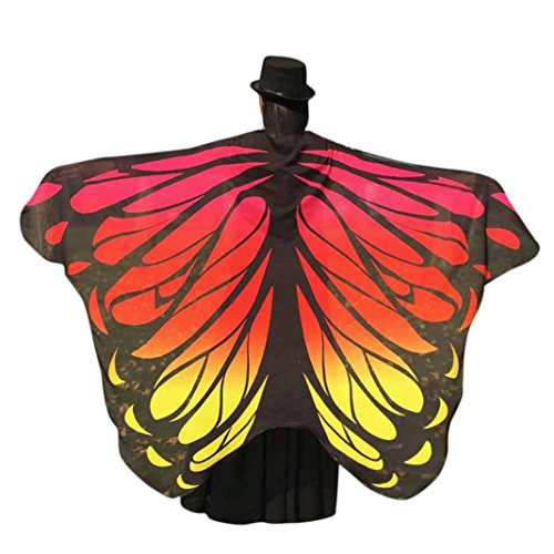 VESNIBA Soft Fabric Butterfly Wings Shawl Fairy Ladies Nymph Pixie Costume Accessory (197125CM, Orange -1)