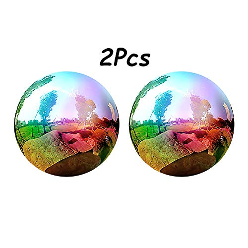 2Pcs Rainbow Mirror Ball, Gazing Globe Stainless Steel Shiny Ball Gazing Balls for Gardens Decoration - 3/4/5 Inch