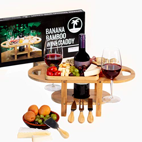 Wine and Cheese Board with Removable Cheese Tray by Banana Bamboo Wine Glass Holder Gift Wine and Cheese Caddy (With Gift Set)