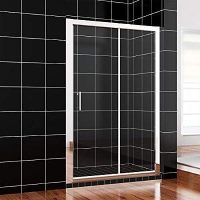 Mampara de ducha con puerta corredera simple, panel lateral y plato: Amazon.es: Hogar