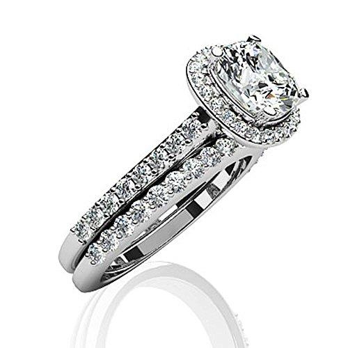 14K Or blanc classique Amour Taille Coussin de mariage Ensemble