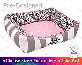 Pink Damask Dog Bed Cat Bed Personalize Girly Grey Black Polka Dot Stripe Damask Washable