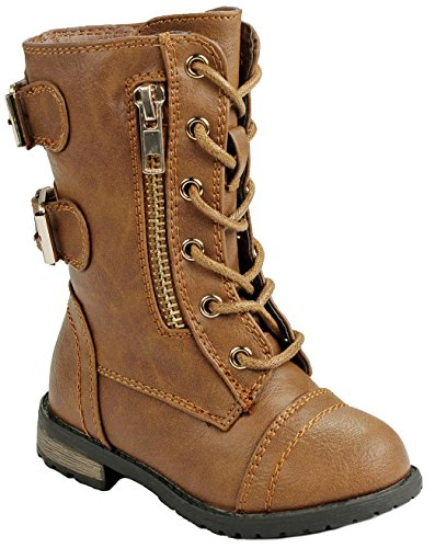Baby Girls Toddler M71KA Tan Dual Buckle/Zip Quilted Back Mid Calf Motorcycle Toddler/Infant Winter Boots-6