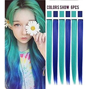 Rhyme Wig Pieces Colored Hair Extension Clip In/On For Girls and Dolls 6PCS (Blue+Lake Blue)