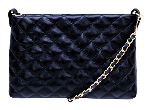 with Strap Navy Shoulder Leather Quilted Chain Classic Gold Genuine Handbag Real Italian Bag amp; pqRpwHTn