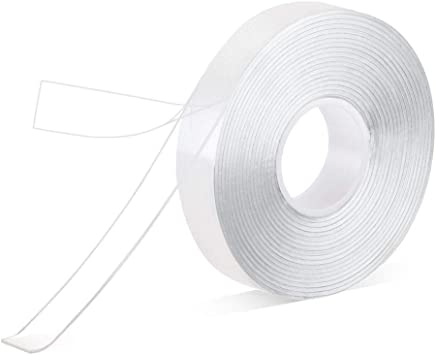 Pack of 1 Roll Double Sided Tape Heavy Duty 3//4 in 10 Ft No Residue Clear Removable Strong 2 Sided Acrylic Adhesive Sticky Tape for Craft Wall Mounting
