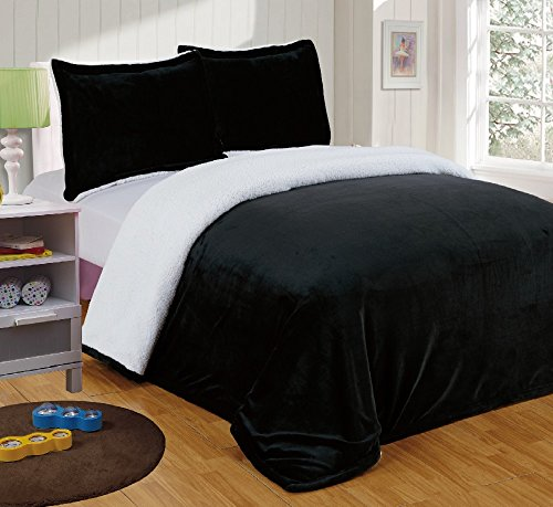 Chezmoi Collection Micromink Sherpa Reversible Throw Blanket (Twin, Black)