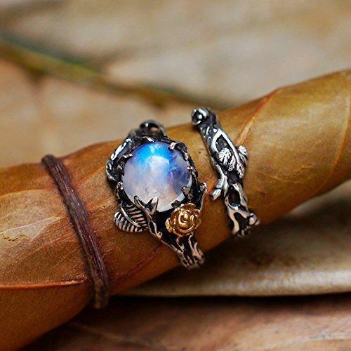 Moonstone Engagement Ring Set of 2 Cleo+Mio, Solid Gold and Sterling Silver Rainbow Moonstone ring, Wedding Set, Twig ring, Stacking Ring