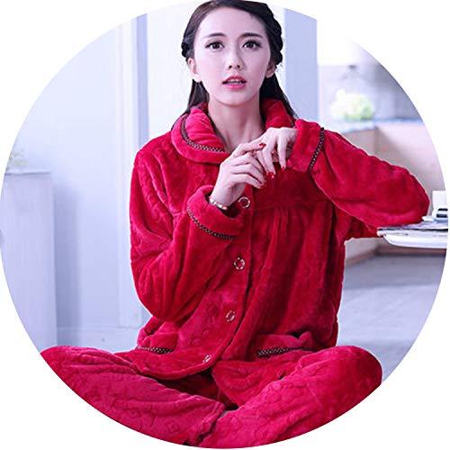 Winter Pyjama Flannel Sexy Dot Print Warm Winter Women Thick Pajama,Color 4,XL