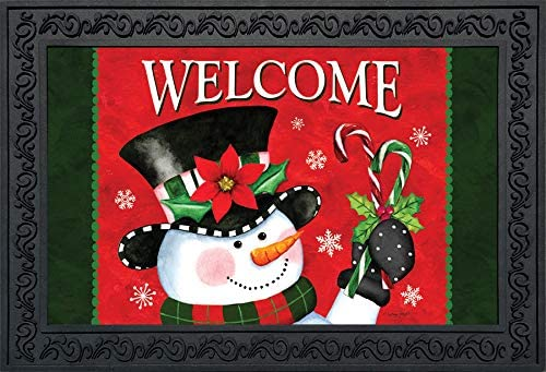 Briarwood Lane Christmas Snowman Welcome Doormat Candy Canes Indoor Outdoor 18 x30