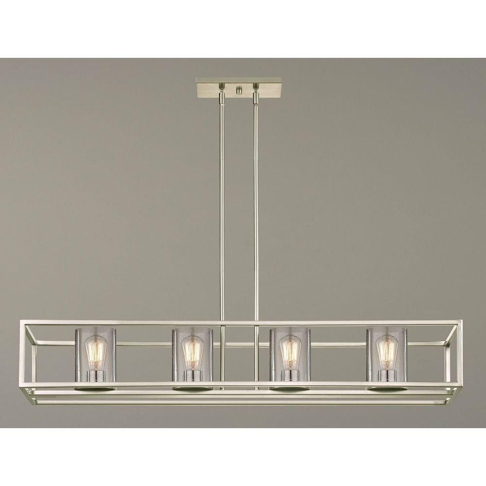 Seeded Hanging Glass Linear Chandelier Satin Nickel Finish – 4 Lights