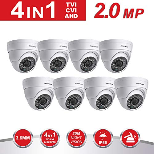 Dome Security Camera,Anpvees Hybrid HD 1080P 4 in 1 TVI/CVI/CVBS/AHD Security Cameras, Waterproof Outdoor/Indoor Day & Night Vision 3.6mm Lens for CCTV Camera System-White (AC-3122-W-8pack) For Sale