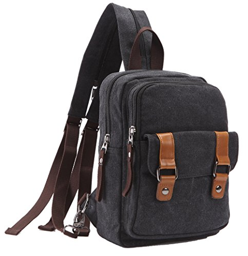 ZUOLUNDUO Vintage Casual Canvas Daypacks Cute Travel Outdoor Backpack Shoulder Bags M8528SJ,Black (Canvas Sporty)