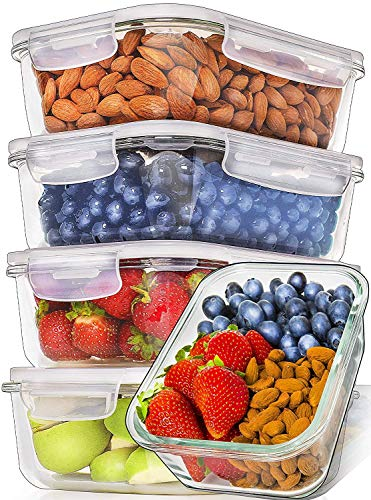 Prep Naturals Glass Meal Prep Containers [5-Pack,36oz] - Glass Food Storage Containers with Lids - Food Containers Food Prep Containers Glass Storage Containers with lids Glass Lunch Containers