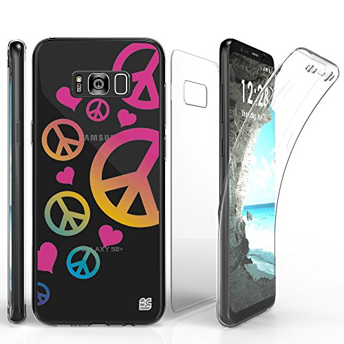 TriMax Case For Galaxy S8 Plus, Ultra Slim Transparent Clear Hybrid Shock Absorbing Scratch Resistance With Full Body Protection Built In Screen Protector Flexible Gel Cover Peace Sign