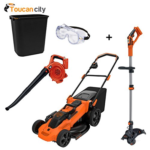 40-Volt MAX Li-Ion Cordless Battery Push Mower with Bonus Bare String and Hedge Trimmers CM2040LST1LSW36 and Toucan City Safety Goggles and 7 Gal Trash can (Black & Decker Push Mower)
