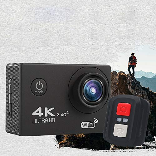 Pinzhi Cameras V3R Remote 4K Waterproof Sports Camera WiFi Mini Sports Camera DV Festival Toy Gift Smart Camera Digital Cameras for Beginners (Color : Black)