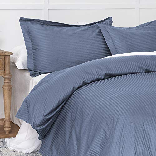 Duvet Cover Indigo Blue Full, Classic Damask Pinstripe Pattern, 100% Long Staple Cotton 400TC with Silky & luxury Sateen Woven, Cool & Breathable, Luxury Royal Hotel Style Clean Look Duvet Cover